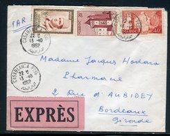 Maroc - Enveloppe En Exprès De Casablanca Pour Bordeaux En 1962 , Affranchissement Plaisant -  Réf J103 - Maroc (1956-...)
