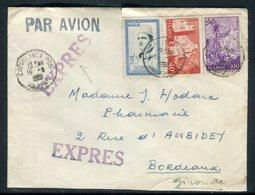 Maroc - Enveloppe En Exprès De Casablanca Pour Bordeaux En 1961 , Affranchissement Plaisant -  Réf J104 - Maroc (1956-...)