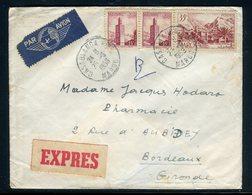 Maroc - Enveloppe En Exprès De Casablanca Pour Bordeaux En 1956 , Affranchissement Plaisant -  Réf J105 - Maroc (1956-...)