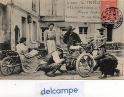 CPA -  Une Panne En Tricycle -  Publicité, Lisez L' INDUSTRIE VELOCIPEDIQUE Et AUTOMOBILE - Revue Technique - 1906 - Cartoline