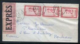 Maroc - Enveloppe En Exprès De Casablanca Pour Bordeaux En 1962 , Affranchissement Plaisant -  Réf J106 - Maroc (1956-...)