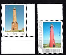 Vuurtoren, Lighthouse Nederland Persoonlijke Zegel 2x O.a. Schiermonnikoog - Vuurtorens