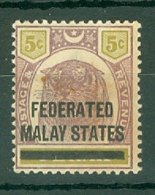 Federated Malay States: 1900   Tiger 'Federated Malay States' OVPT     SG4   5c    MH - Federated Malay States
