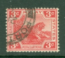 Federated Malay States: 1904/22   Tiger    SG34b    3c   Scarlet   Used - Federated Malay States