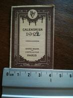 Mini Calendrier GRAND BAZAR DE L HÔTEL DE VILLE DE PARIS 1922 - Klein Formaat: 1921-40