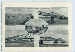 W5T57/ Die 5 Rheinbrücken In Duisburg AK 1937 - Germany