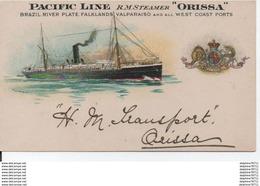 "Pacific Line RM STEAMER ""Orissa"" Brazil River Plate - Steamers"