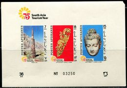 AFH439 Afghanistan 1975 World Heritage Ancient Tower Buddha Image Isometric Break S/S MNH - Afghanistan