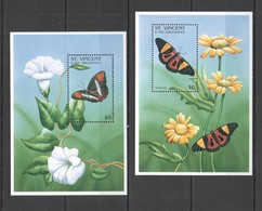 S263 ST. VINCENT BUTTERFLIES & FLOWERS FLORA & FAUNA 2BL MNH - Papillons