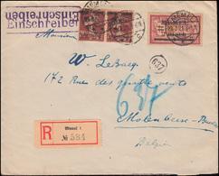 22+28 Freimarken Mit Aufdruck Als MiF Auf R-Brief MEMEL 23.7.1921 Nach Belgien - Memel (Klaïpeda)