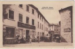 CPA Note. Cublize Rhône Hôtel Du Commerce F. Muzeau Personnages Et Pompe à Essence. Edit:  Photo Combier - Macon - Villefranche-sur-Saone