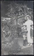Photo Carte Real Photograph Post Card Femme Enfant Chapeau Jardin Pergola Woman Hat Children Garden Vrouw Hoed Kinderen - Illustrateurs & Photographes