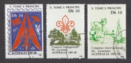 Sao Tome And Principe Of 1988 / 1068-1070 O Used / World Scout Meeting In Australia (Weltpfadfindertreffen) - São Tomé Und Príncipe