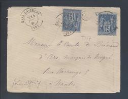 90 Sage 15c Tarif 30c Gaja La Selve 10 1880 Type 17 + OR Pour Nantes Cire Au Verso - Postmark Collection (Covers)