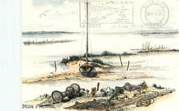 Bassin D' Arcachon - Les Landes - Aquarelle De Robert Lepine - Peche  U 1672 - Pêche