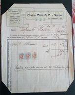 ROMA 1929 - Fattura Vendita All'ingrosso Oreste Ciotti & C. - Tassa Di Bollo Lusso E Scambi - Italia