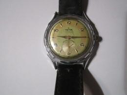 TETA INCABLOC ANCRE 15 RUBIS Ancienne Montre Homme Bracelet Cuir - Antike Uhren