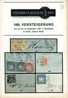 186. Köhler Briefmarken Auktion 1967 - Auktionskatalog Mit Den Bildtafeln - Auktionskataloge