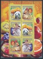 NB - [400120]TB//**/Mnh-Guinée 2008 - BL3501/3506, Fruits Et Animaux, Panda, Ecureuil, Singe - Fruits