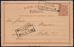 Preussen NV DR Ganzsache Cothen Bahnhof - Halle/S. Ankunft  1874    (23011 - Ohne Zuordnung