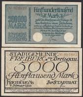 Freiburg I.Br. 5000 + 500 Hundert Tausend Mark Notgeld Banknoten 1923  (23197 - Deutschland