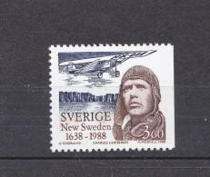 AVIATION HISTORY GESCHICHTE HISTOIRE DE L'AVIATION PILOT CHARLES LINDBERGH  SWEDEN SCHWEDEN SUEDE 1988 MI 1477 MNH - Airplanes