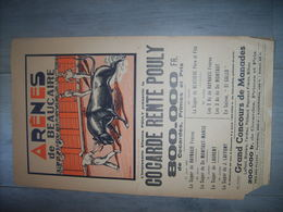 Arenes De Beaucaire Affiche 27x45 Programme Du Cocarde Rente Pouly Concour De Manades Taureaux Camargue 1951 - Posters