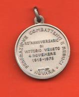 Novara Combattenti E Reduci 1918  1978 60° Vittorio Veneto Medaglia Argento S. Johnson - Italia