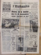 Journal L'Humanité (25 Mai 1963)Construction HLM - Pouillon -OTAN - Colloque Langevin - Dampierre - 1950 - Nu