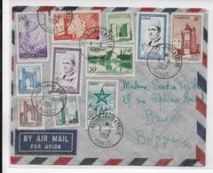 1957 - MAROC - ENVELOPPE Par AVION De RABAT => BRUXELLES (BELGIQUE) - AFFRANCHISSEMENT ! - Marocco (1956-...)