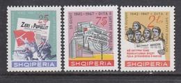 Albania 1967 - 25 Years Albanian Press, Mi-Nr. 1185/87, MNH** - Albania
