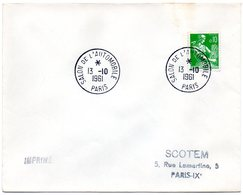 PARIS 1961 = CACHET PETIT FORMAT TEMPORAIRE  = SALON AUTOMOBILE Sur ENVELOPPE Entière - Marcophilie (Lettres)