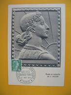 Carte-Maximum 1955  N° 1010  Marianne De Muller Exposition Internationale Art Graphique - Les PTT Service Public Paris - 1950-59