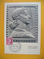 Carte-Maximum 1955  N° 1011  Marianne De Muller Exposition Internationale Art Graphique - Les PTT Service Public Paris - 1950-59