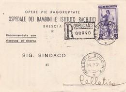 STORIA POSTALE RACC. RICEVUTA DI RITORNO - BRESCIA - OSPEDALE DEI BAMBINI E ISTITUTO - VIAGGIATA PER CELLATICA (BS) - 6. 1946-.. Repubblica