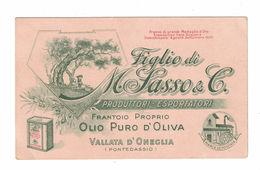 CARTOLINA POSTALE CARTONCINO PUBBLICITARIO FIGLIO DI M. SASSO PRODUTTORI ESPORTATORI OLIO OLIVA - Pubblicitari