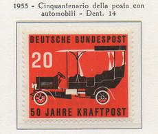 PIA - GERMANIA - 1955  : 50° Anniversario Del Servizio Postale Con Automobili - Automobile Postale Del 1905  -   (Yv 87) - Automobili