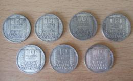 France - Lot De 7 Monnaies 10 Francs Turin En Argent - 1929 / 1938 - Achat Immédiat - K. 10 Francs