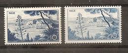 VARIETE N 1038 ** - 1 TB BLEU CLAIR UNICOLORE ET TRES  DEPOUILLEE AU LIEU DE OUTREMER - COTE + DE 150 EUROS - RRR !!!! - Variétés: 1950-59 Neufs