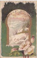 "36. CARTE FANTAISIE. CPA.GAUFREE . ""BONNE ANNEE"". PAYSAGE DE NEIGE TEXTE MILITARIA. ANNEE 1917 - Nouvel An"