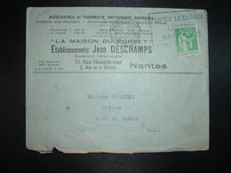 LETTRE TP PAIX 90c OBL.MEC.31 I 1939 NANTES GARE (44) LA MAISON DU CORSET Ets Jean DESCHAMPS ACCESSOIRES DE PHARMACIE - 1921-1960: Modern Period