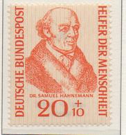 PIA - GERMANIA - 1955  : Benefattori Dell' Umanità - Dr. Samuel  Hahnemann  -   (Yv 100) - Nuovi