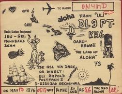 QSL Card Amateur Radio Station Funkkarte OAHU  Hawai Hawaii ALOHA Bad Reichenhall 1976 - Radio Amateur