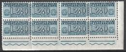 # Italia 1955/81 - Trasporto Pacchi In Concessione Lire 240 Quartina D'angolo MNH ** - Pacchi In Concessione
