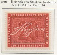 PIA - GERMANIA - 1956  : Heinrich Von Stephan - Fondatore Dell' U.P.U.  -   (Yv 104) - Nuovi