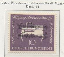 PIA - GERMANIA - 1956  : Bicentenario Della Nascita Di Mozart -   (Yv 105) - Nuovi