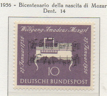PIA - GERMANIA - 1956  : Bicentenario Della Nascita Di Mozart -   (Yv 105) - Musica