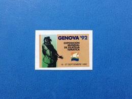 VIGNETTA ETICHETTA TARGHETTA ERINNOFILO BOLLINO CINDERELLA COLOMBO GENOVA 92 EXPOSICION MUNDIAL DE FILATELIA TEMATICA - Cinderellas