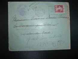 LETTRE TP SEMEUSE 15c OBL.MEC.19 V 1936 NANTES GARE (44) CONSULADO DE ESPANA + RETOUR 7734 (PLEHEREL COTES DU NORD 22) - Storia Postale