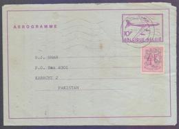 BELGIUM Postal History - 10 Francs Aerogramme Stationery On Aeroplane, Used 8.10.1976 With Additional Stamp - Stamped Stationery
